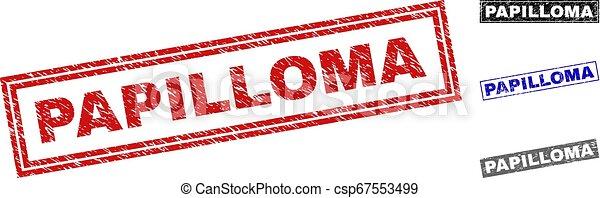 Grunge PAPILLOMA Textured Rectangle Stamps - csp67553499