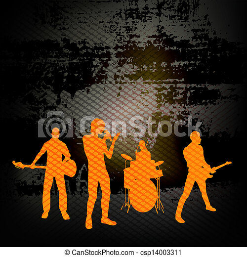 grunge, parete, gruppo, illustrazione, chitarra, banda, vettore, contro, fondo, roccia - csp14003311