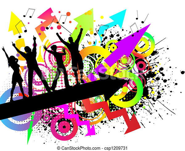 grunge party people dancing on colourful grunge background clipart rh canstockphoto com