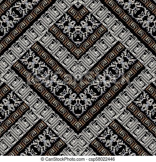 grunge, pattern., seamless, bordado, listrado, meander, geomã©´ricas, 3d - csp58022446