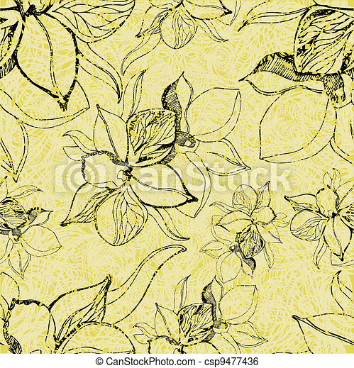 grunge pattern with flowers - csp9477436
