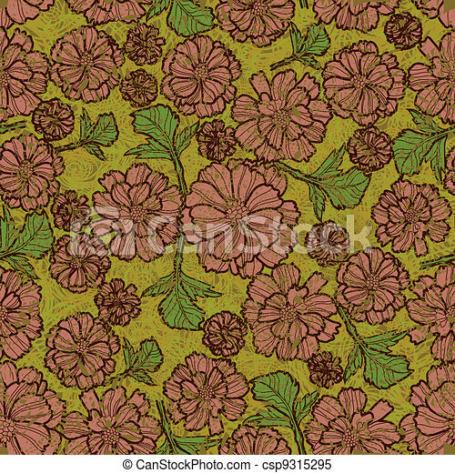 Grunge pattern with flowers - csp9315295