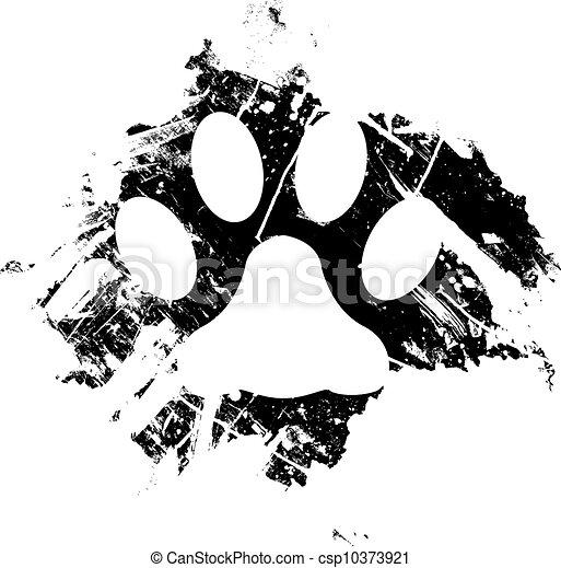 Grunge paw print sketch - csp10373921