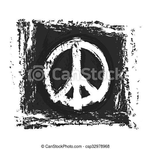 grunge peace symbol, vector design - csp32978968