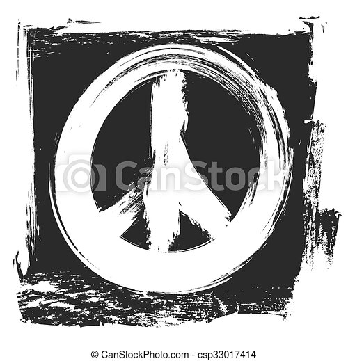 grunge peace symbol, vector design - csp33017414