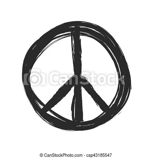 grunge peace symbol vector - csp43185547