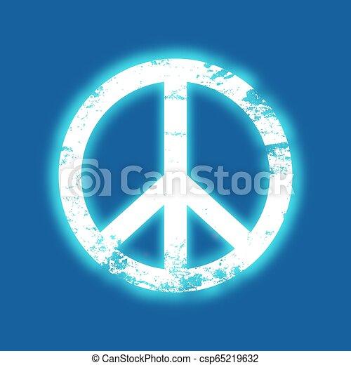 Grunge peace symbol with a blue neon glow, vintage design - csp65219632