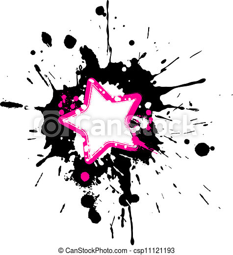Grunge pink star frame with black and white splashes.