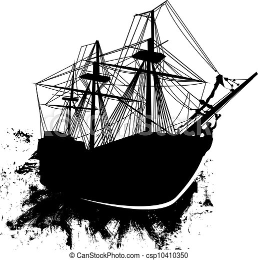 grunge pirate ship vector vector silhouette of sailing pirate ship rh canstockphoto com pirate ship wheel vector cartoon pirate ship vector