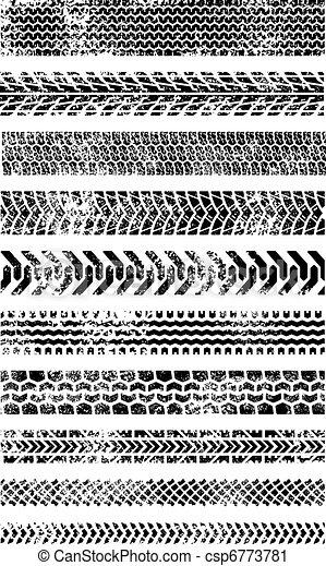 grunge, pneu, dez, cobrança, alto, trilhas, qualidade - csp6773781