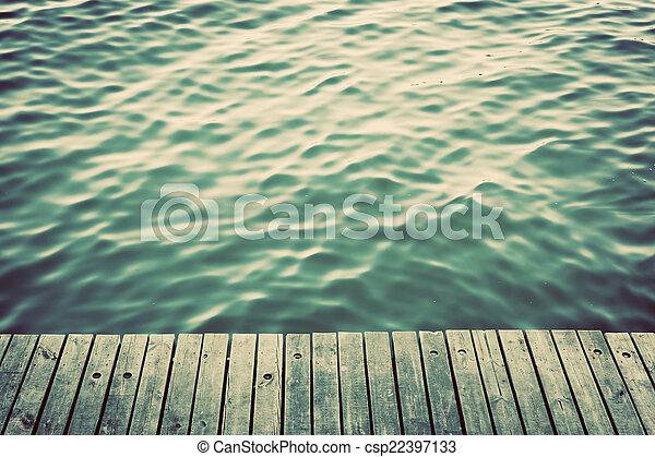 grunge, raad, rippling, ouderwetse , op, oceaan, hout, pijler, waves. - csp22397133