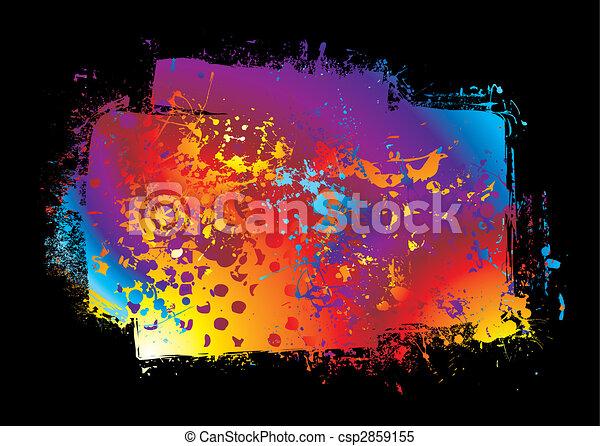 grunge rainbow banner - csp2859155