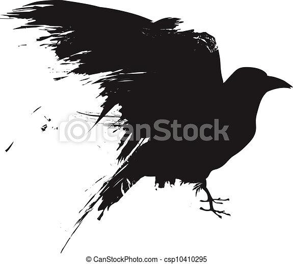 Grunge raven vector silhouette - csp10410295