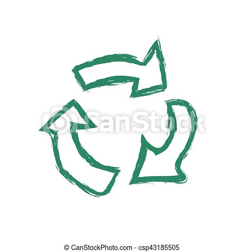 grunge recycle symbol vector illustration - csp43185505