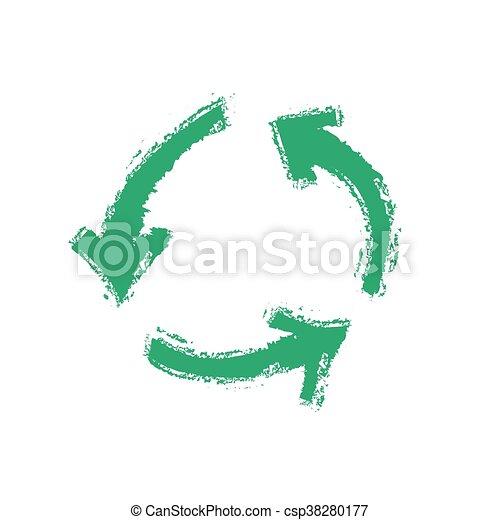grunge recycling symbol, vector - csp38280177