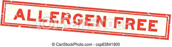 Grunge red allergen free word square rubber seal stamp on white background - csp63841900
