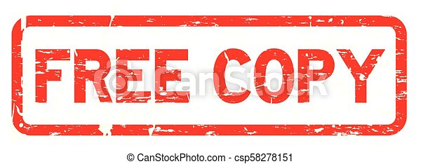 Grunge red free copy square rubber seal stamp on white background - csp58278151