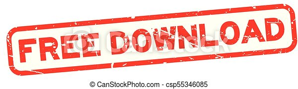 Grunge red free download square rubber seal stamp on white background - csp55346085