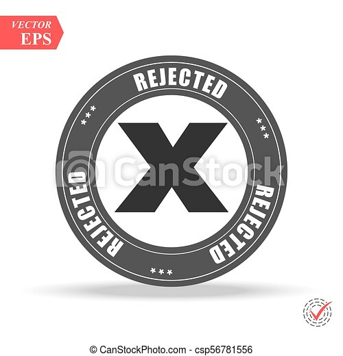 Grunge red rejected round rubber seal stamp on white background - csp56781556