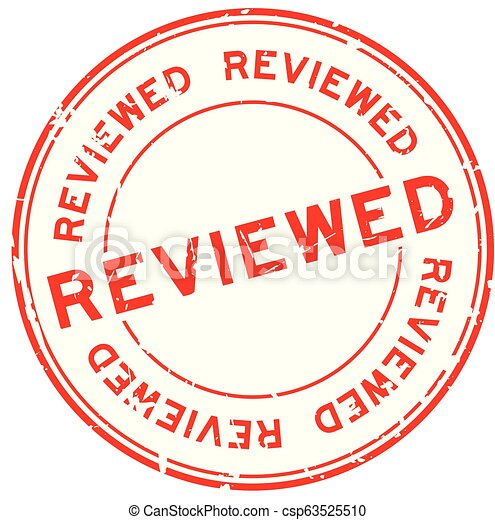 Grunge red reviewed word round rubber seal stamp on white background - csp63525510