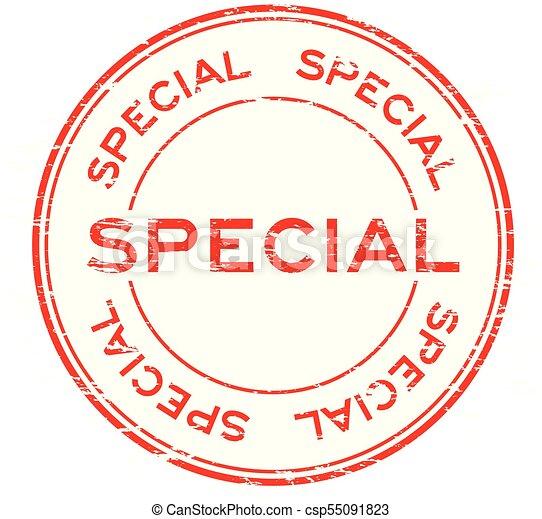 Grunge red special round rubber stamp - csp55091823