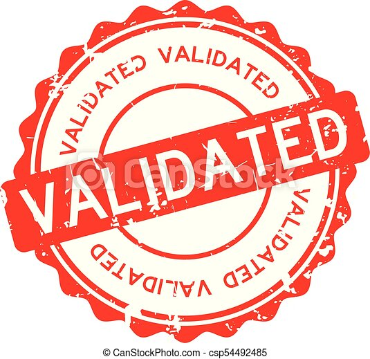 Grunge Red Validated Wording Round Rubber Seal Stamp On White Background