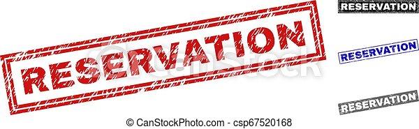 Grunge RESERVATION Textured Rectangle Stamp Seals - csp67520168