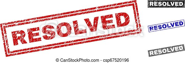 Grunge RESOLVED Textured Rectangle Stamps - csp67520196
