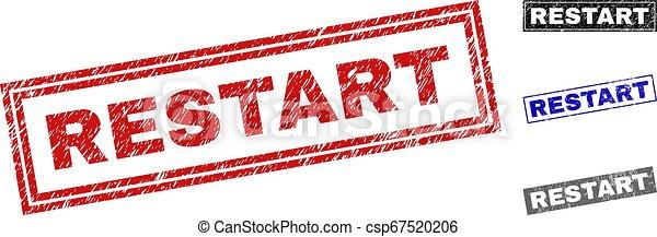 Grunge RESTART Scratched Rectangle Stamp Seals - csp67520206
