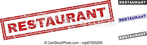 Grunge RESTAURANT Textured Rectangle Stamps - csp67520205