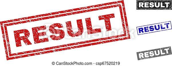 Grunge RESULT Scratched Rectangle Stamp Seals - csp67520219