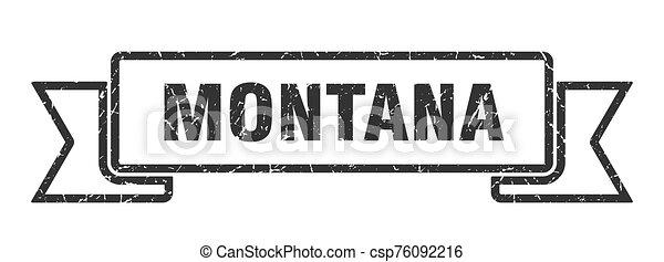 grunge, ribbon., banda, negro, señal, montana - csp76092216