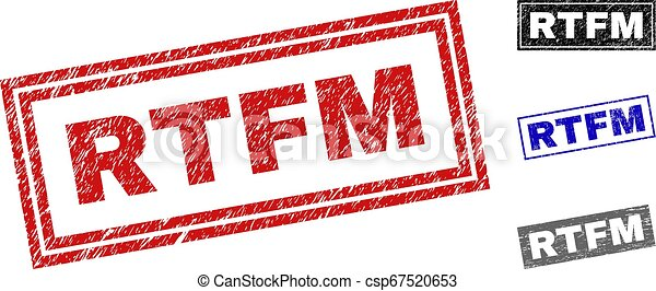 Grunge RTFM Textured Rectangle Stamps - csp67520653
