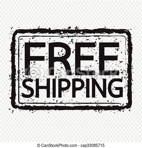 grunge rubber stamp text free shipping Illustration symbol design - csp33085715