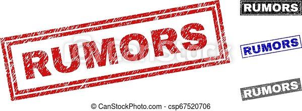 Grunge RUMORS Textured Rectangle Stamp Seals - csp67520706