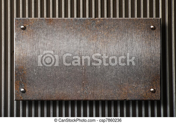 grunge rusty metal plate over grid background - csp7860236
