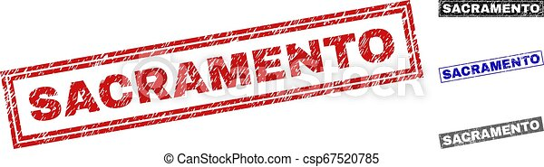 Grunge SACRAMENTO Textured Rectangle Stamps - csp67520785