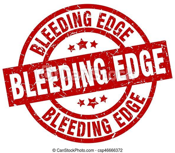 Un borde sangrante alrededor de un sello de grunge rojo - csp46666372