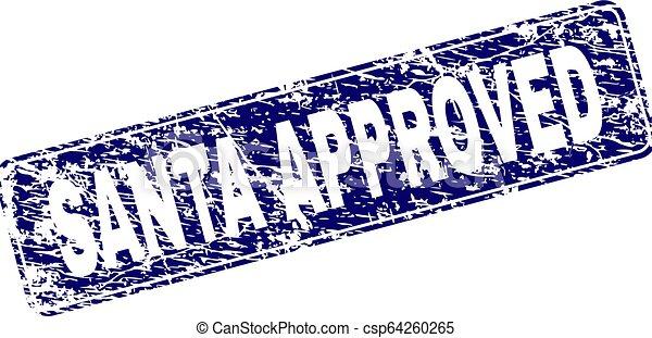 Grunge SANTA APPROVED Framed Rounded Rectangle Stamp - csp64260265