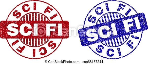 Grunge SCI FI Textured Round Stamp Seals - csp68167344