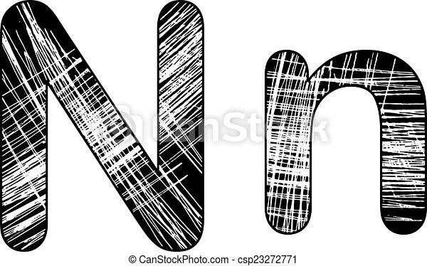 Grunge Scratch Letter N Alphabet Symbol Design On White