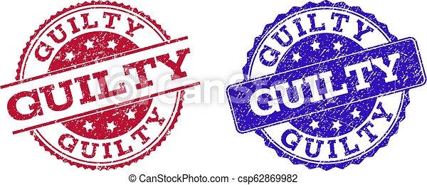 Grunge Scratched GUILTY Stamp Seals - csp62869982