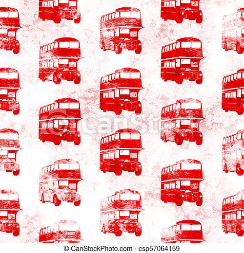 Grunge Seamless Red London Bus Pattern - csp57064159