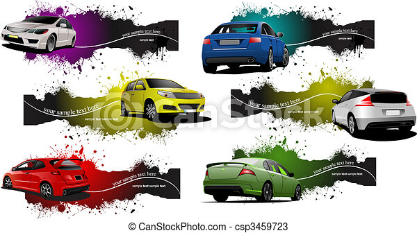 Sechs grunge Banner mit Autos. Vector Illustration - csp3459723