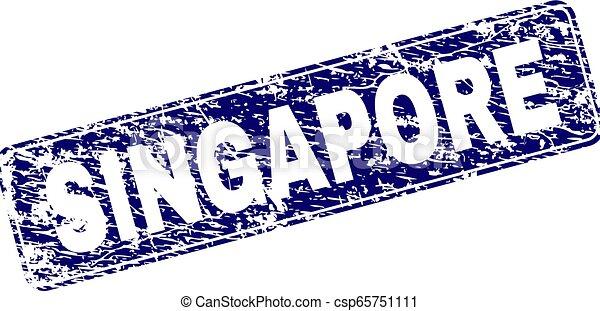 Grunge SINGAPORE Framed Rounded Rectangle Stamp - csp65751111