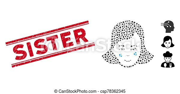 Grunge Sister Line Seal with Collage Crying Woman Face Icon - csp78362345
