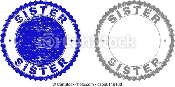 Grunge SISTER Textured Watermarks - csp66149188