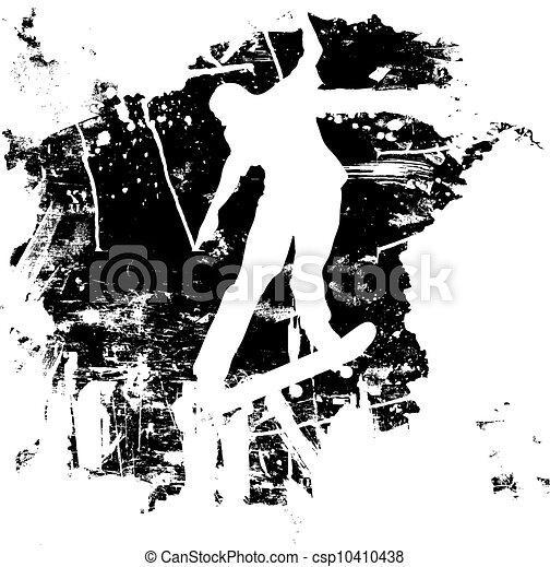 Grunge snowboard or skateboarder - csp10410438