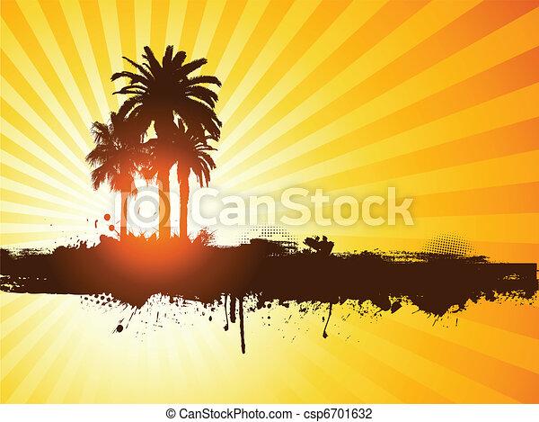 grunge, sommar, palm trä, bakgrund - csp6701632