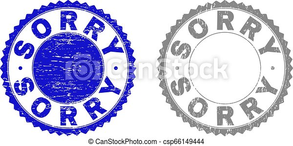 Grunge SORRY Scratched Stamp Seals - csp66149444